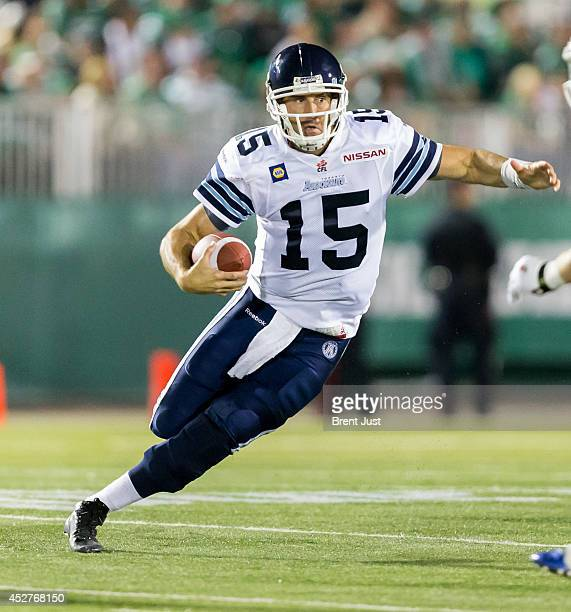 Ricky Ray of the Toronto Argonauts scrambles in a game between the Toronto Argonauts and Saskatchewan Roughriders in week 5 of the 2014 CFL season at...
