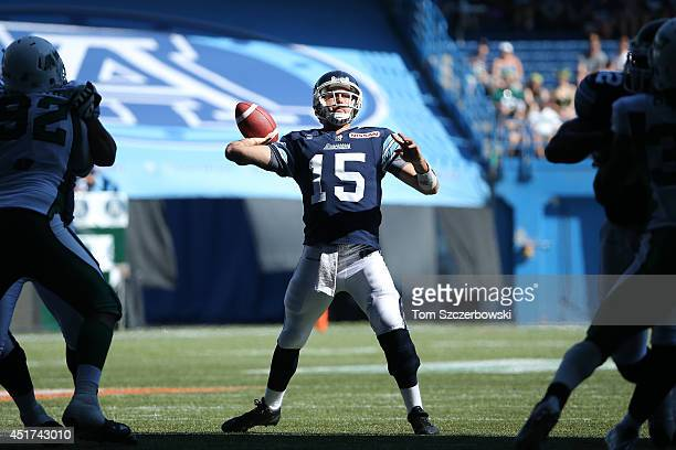Ricky Ray of the Toronto Argonauts throws a touchdown pass during a CFL game against the Saskatchewan Roughriders on July 5 2014 at Rogers Centre in...