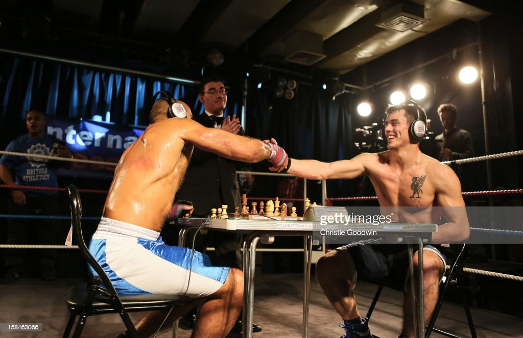 Ricky Rock and Jack Page in the ring during the Chessboxing 2012 Season Finale at Scala on December 8, 2012 in London, England.