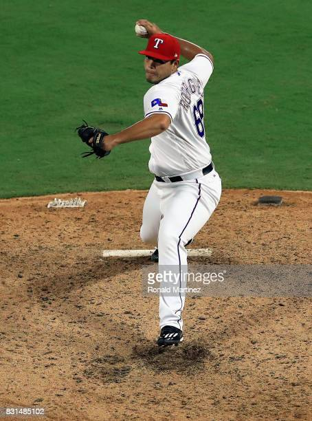 Ricky Rodriguez of the Texas Rangers throws against the Detroit Tigers at Globe Life Park in Arlington on August 14 2017 in Arlington Texas
