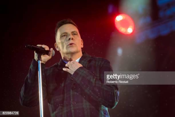 Ricky Ross of Scottish pop rock band Deacon Blue performs on stage at Edinburgh Castle on July 22 2017 in Edinburgh Scotland