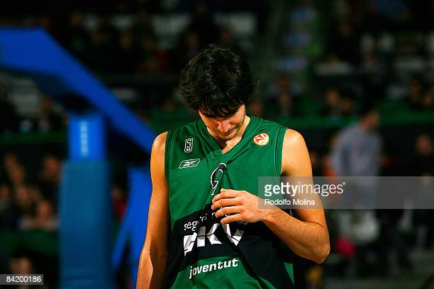 Ricky Rubio #9 of DKV Joventut in action during the Euroleague Basketball Game 9 match between DKV Joventut and Alba Berlin on January 7 2009 at the...