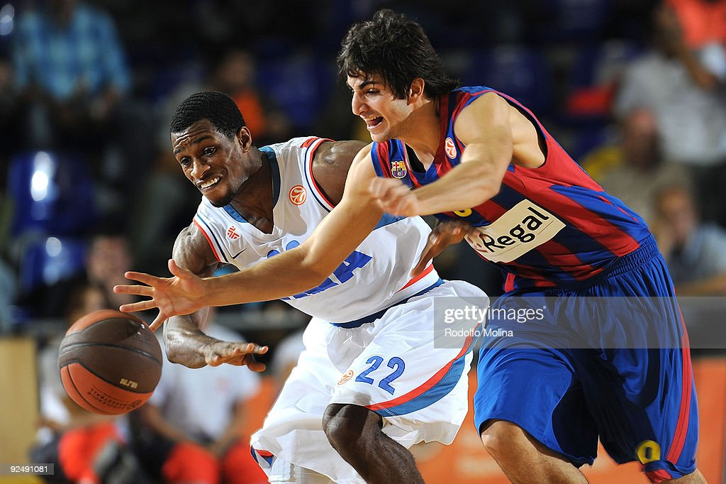 Ricky Rubio #9 of Regal FC Barcelona competes with Antonio Graves #22 of Cibona during the Euroleague Basketball Regular Season 20092010 Game Day 2...