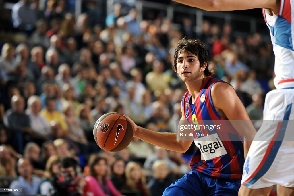 <a gi-track='captionPersonalityLinkClicked' href=/galleries/search?phrase=Ricky+Rubio&family=editorial&specificpeople=4028920 ng-click='$event.stopPropagation()'>Ricky Rubio</a>, #9 of Regal FC Barcelona in action during the Euroleague Basketball Regular Season 2009-2010 Game Day 2 between Regal FC Barcelona vs KK Cibona Zagreb at Palau Blaugrana on October 29, 2009 in Barcelona, Spain.