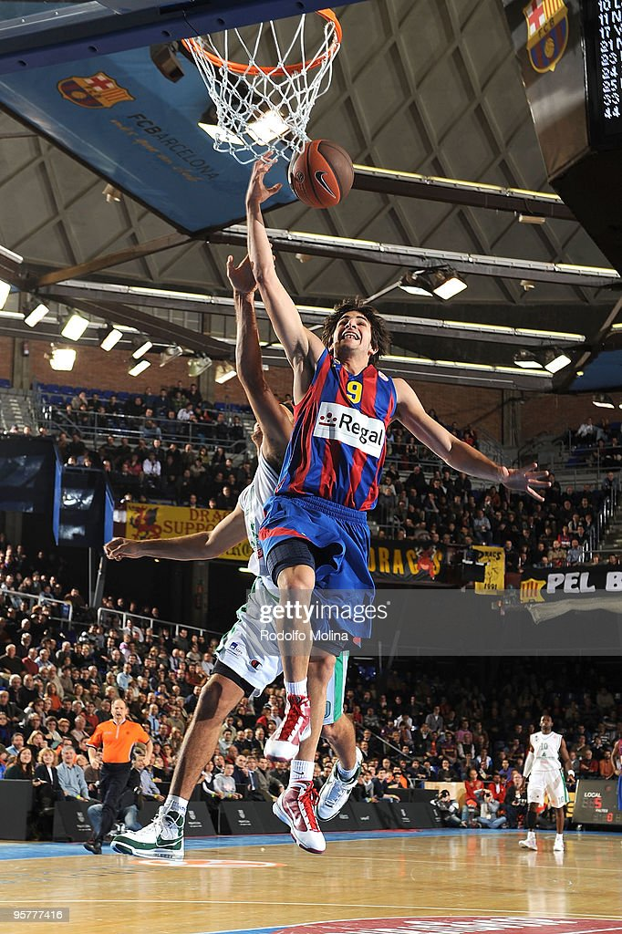 Ricky Rubio #9 of Regal FC Barcelona in action during the Euroleague Basketball Regular Season 20092010 Game Day 10 between Regal FC Barcelona vs...