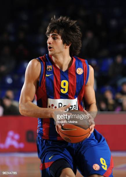 Ricky Rubio #9 of Regal FC Barcelona in action during the Euroleague Basketball 20092010 Last 16 Game 1 between Regal FC Barcelona vs Maroussi BC at...