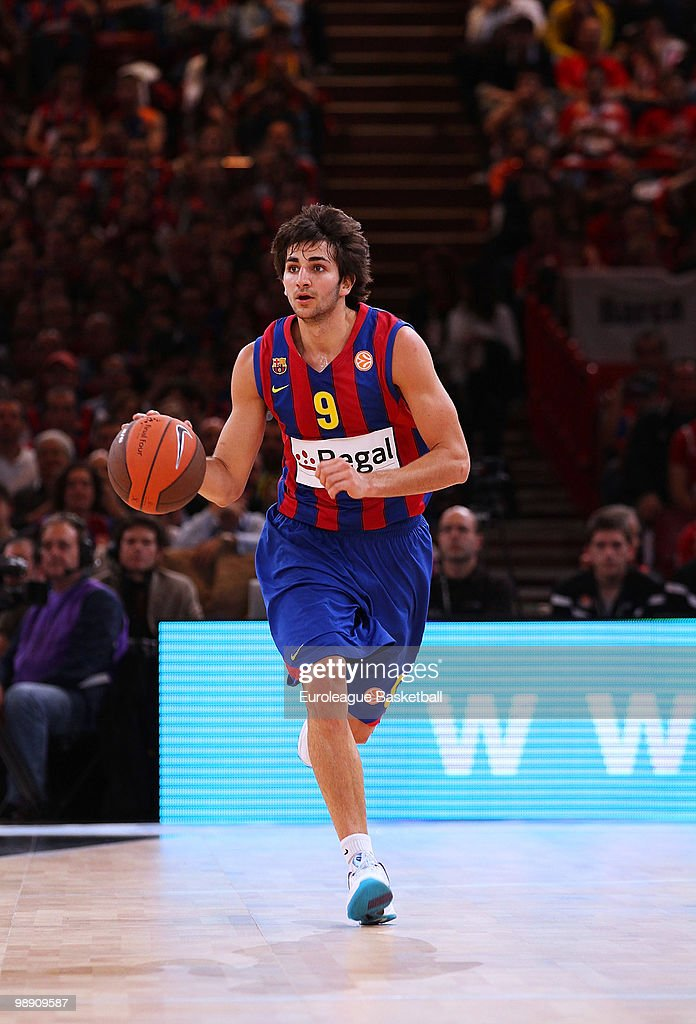 Ricky Rubio #9 of Regal FC Barcelona in action during the Euroleague Basketball Semi Final 1 between Regal FC Barcelona and CSKA Moscow at Bercy...