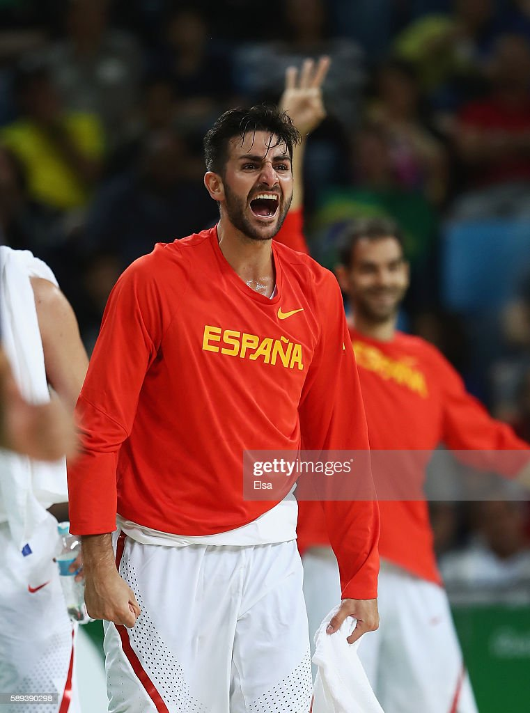 Ricky Rubio #79 and Jose Calderon #8 of Spain celebrate a play during the Men's Preliminary Round Group B between Spain and Lithuania on Day 8 of the Rio 2016 Olympic Games at Carioca Arena 1 on August 13, 2016 in Rio de Janeiro, Brazil.