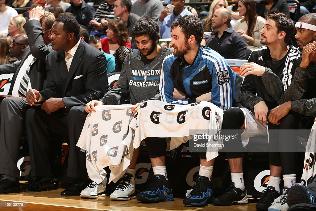 <a gi-track='captionPersonalityLinkClicked' href=/galleries/search?phrase=Ricky+Rubio&family=editorial&specificpeople=4028920 ng-click='$event.stopPropagation()'>Ricky Rubio</a> #9 and <a gi-track='captionPersonalityLinkClicked' href=/galleries/search?phrase=Kevin+Love&family=editorial&specificpeople=4212726 ng-click='$event.stopPropagation()'>Kevin Love</a> #42 of the Minnesota Timberwolves sit on the bench during the game against the Boston Celtics on November 16, 2013 at Target Center in Minneapolis, Minnesota.
