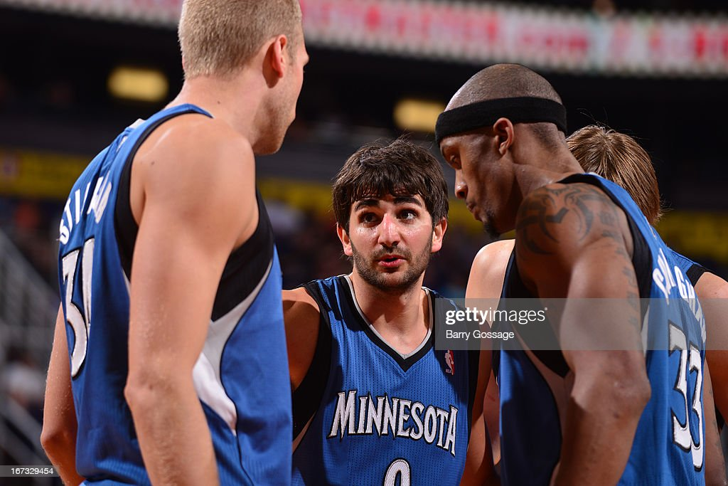 <a gi-track='captionPersonalityLinkClicked' href=/galleries/search?phrase=Ricky+Rubio&family=editorial&specificpeople=4028920 ng-click='$event.stopPropagation()'>Ricky Rubio</a> #9 and the Minnesota Timberwolves huddle up during the game against the Phoenix Suns- on March 22, 2013 at U.S. Airways Center in Phoenix, Arizona.