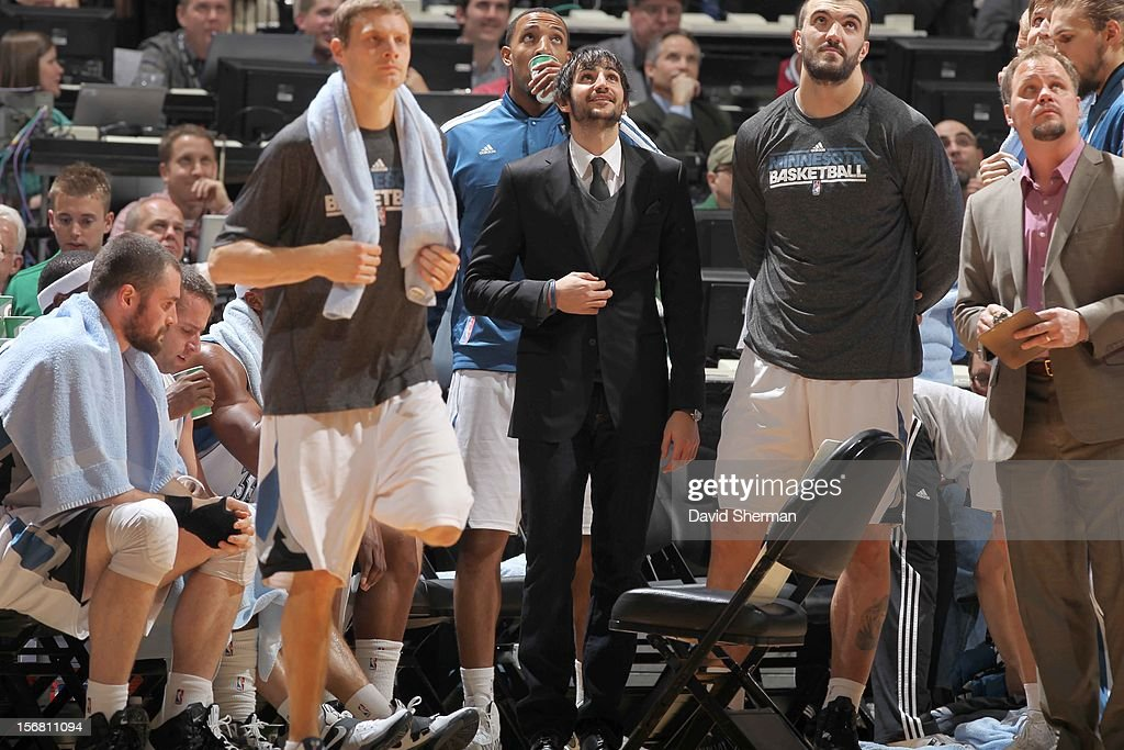 Ricky Rubio #9 and the Minnesota Timberwolves watch from the courtside during the game between the Minnesota Timberwolves and the Denver Nuggets on November 21, 2012 at Target Center in Minneapolis, Minnesota.