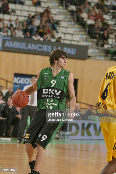 Ricky Rubio of DKV Joventut in action during the ULEB Cup Game between DKV Joventut and Alba Berlin at the Pabello Municipal d'esports de Badalona on...