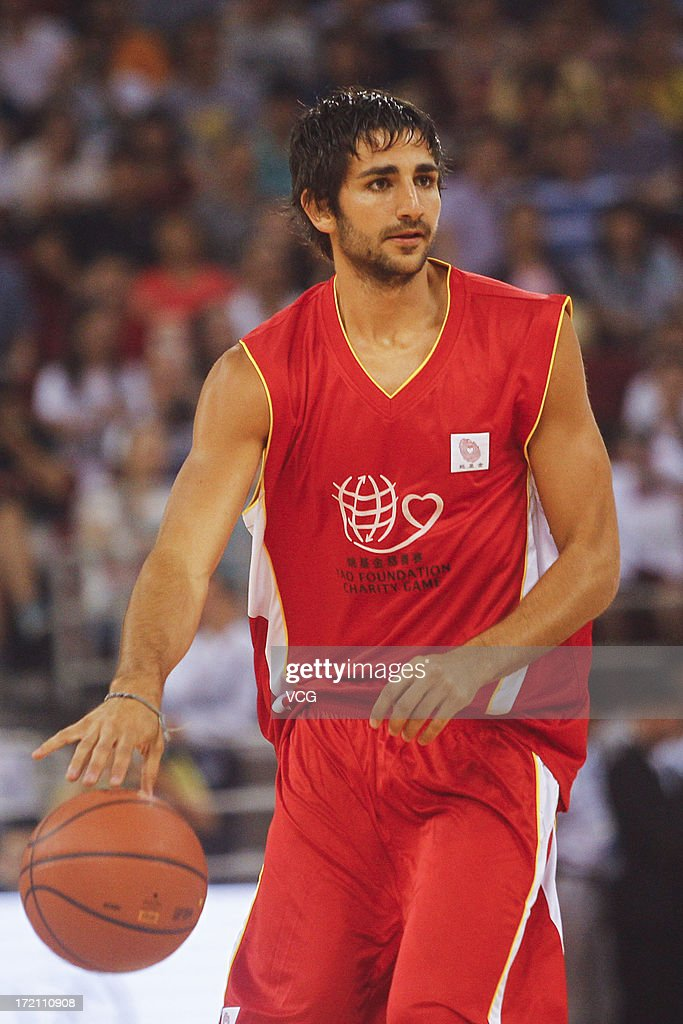 Ricky Rubio of Minnesota Timberwolves drives the ball during the 2013 Yao Foundation Charity Game between China and the NBA Stars at MasterCard Center on July 1, 2013 in Beijing, China.