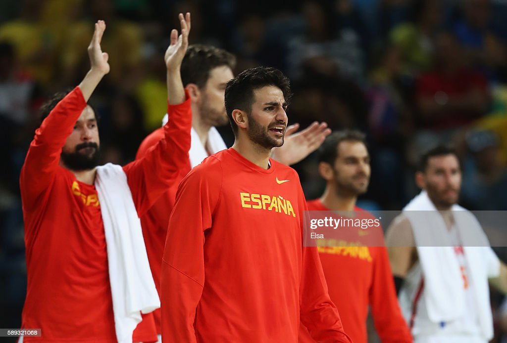 Ricky Rubio of Spain celebrates a play during the Men's Preliminary Round Group B between Spain and Lithuania on Day 8 of the Rio 2016 Olympic Games...