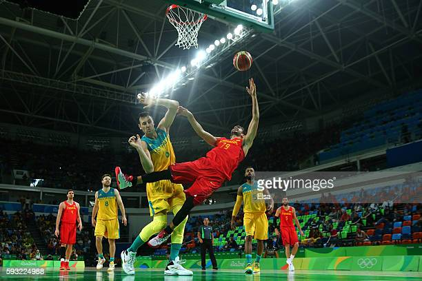 Ricky Rubio of Spain drives to the basket during the Men's Basketball Bronze medal game between Australia and Spain on Day 16 of the Rio 2016 Olympic...
