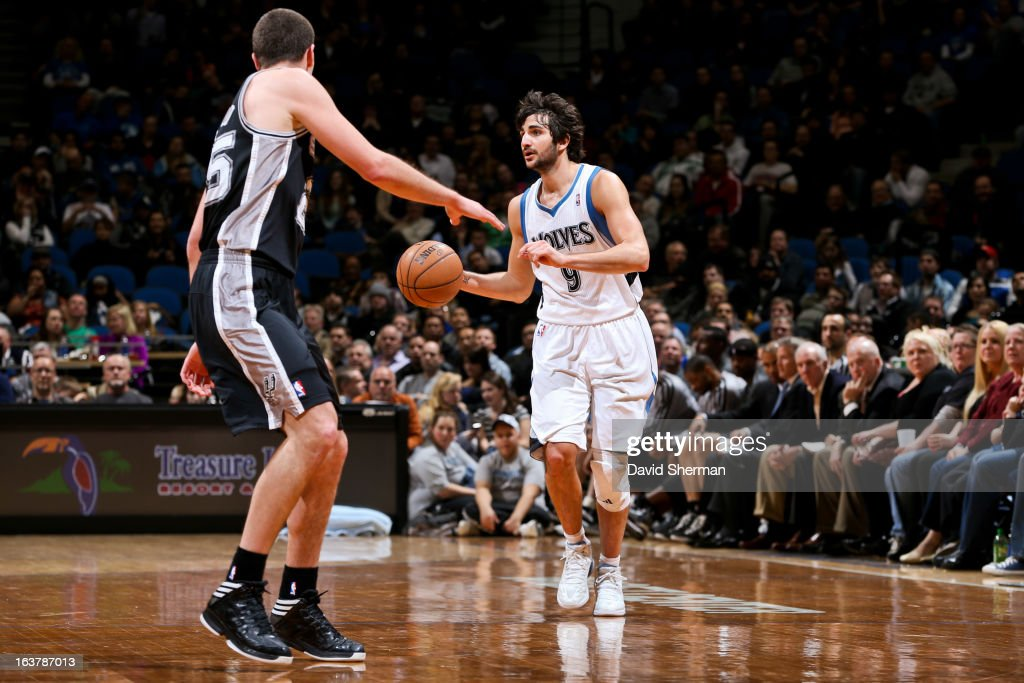 Ricky Rubio #9 of the Minnesota Timberwolves advances the ball against the San Antonio Spurs on March 12, 2013 at Target Center in Minneapolis, Minnesota.