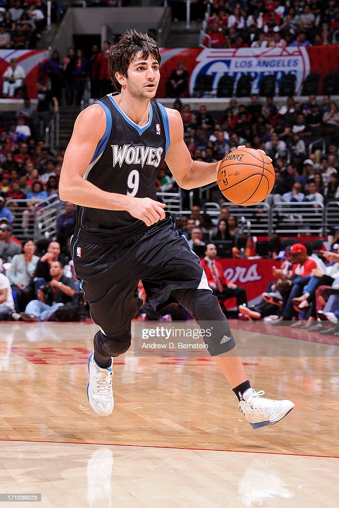 <a gi-track='captionPersonalityLinkClicked' href=/galleries/search?phrase=Ricky+Rubio&family=editorial&specificpeople=4028920 ng-click='$event.stopPropagation()'>Ricky Rubio</a> #9 of the Minnesota Timberwolves advances the ball against the Los Angeles Clippers at Staples Center on April 10, 2013 in Los Angeles, California.
