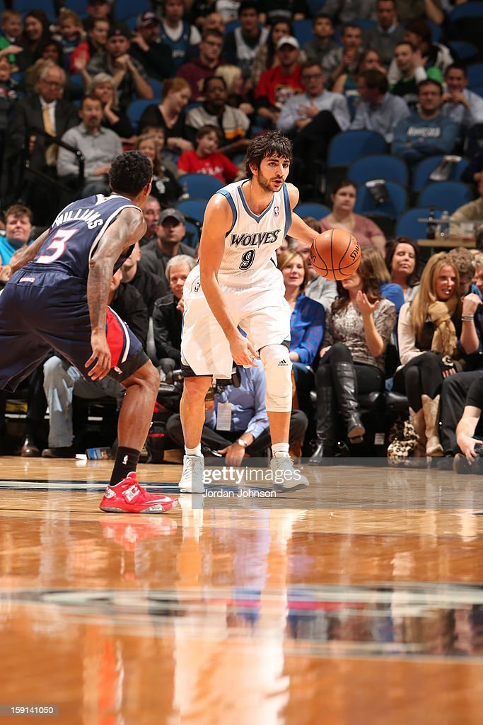 Ricky Rubio #9 of the Minnesota Timberwolves against Louis Williams #3 of the Atlanta Hawks during the game on January 8, 2013 at Target Center in Minneapolis, Minnesota.
