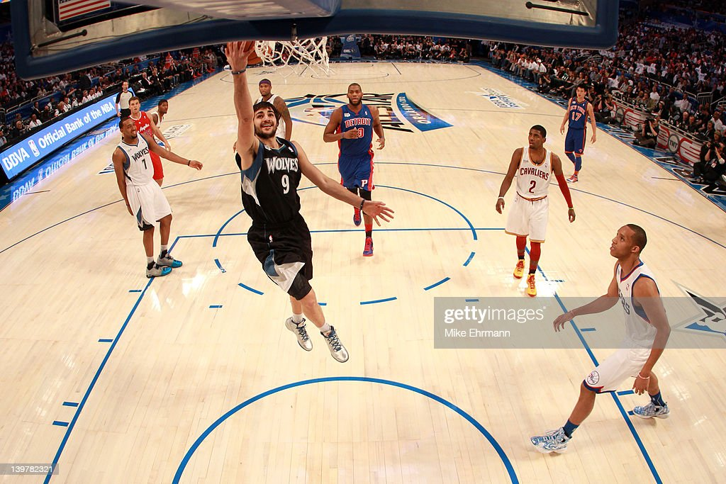 <a gi-track='captionPersonalityLinkClicked' href=/galleries/search?phrase=Ricky+Rubio&family=editorial&specificpeople=4028920 ng-click='$event.stopPropagation()'>Ricky Rubio</a> #9 of the Minnesota Timberwolves and Team Shaq drives for a shot attempt during the BBVA Rising Stars Challenge part of the 2012 NBA All-Star Weekend at Amway Center on February 24, 2012 in Orlando, Florida.