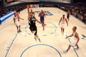 Ricky Rubio of the Minnesota Timberwolves and Team Shaq drives for a shot attempt during the BBVA Rising Stars Challenge part of the 2012 NBA AllStar...