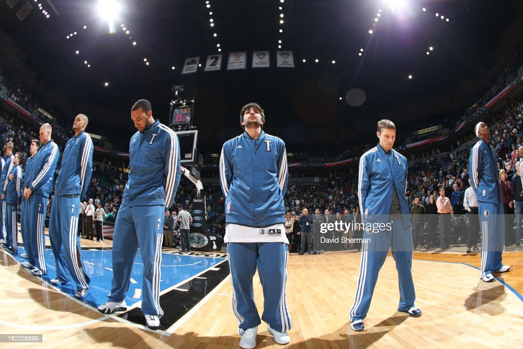 <a gi-track='captionPersonalityLinkClicked' href=/galleries/search?phrase=Ricky+Rubio&family=editorial&specificpeople=4028920 ng-click='$event.stopPropagation()'>Ricky Rubio</a> #9 of the Minnesota Timberwolves and teammates line up during the game between Philadelphia 76ers and the Minnesota Timberwolves on February 20, 2013 at Target Center in Minneapolis, Minnesota.