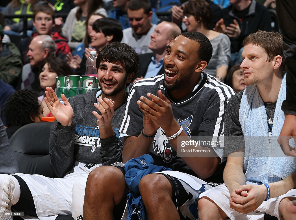 Ricky Rubio #9 of the Minnesota Timberwolves applauds from the bench during the game between the Memphis Grizzlies and the Minnesota Timberwolves on March 30, 2013 at Target Center in Minneapolis, Minnesota.