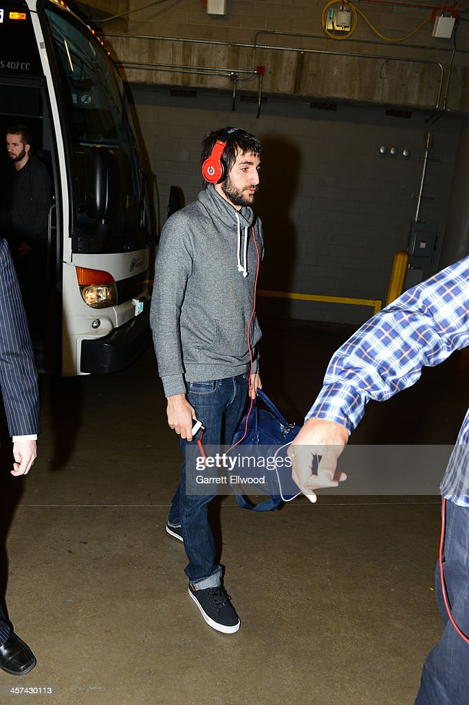 Ricky Rubio #9 of the Minnesota Timberwolves arrives before the game against the Denver Nuggets on November 15, 2013 at the Pepsi Center in Denver, Colorado.