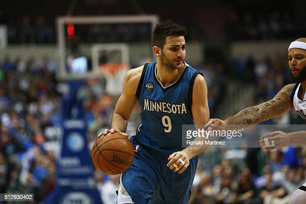 Ricky Rubio of the Minnesota Timberwolves at American Airlines Center on February 28 2016 in Dallas Texas