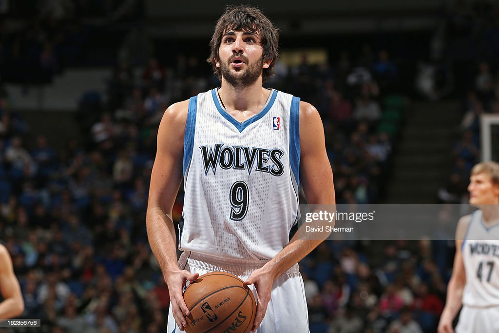 <a gi-track='captionPersonalityLinkClicked' href=/galleries/search?phrase=Ricky+Rubio&family=editorial&specificpeople=4028920 ng-click='$event.stopPropagation()'>Ricky Rubio</a> #9 of the Minnesota Timberwolves attempts a foul shot against the Houston Rockets on January 19, 2013 at Target Center in Minneapolis, Minnesota.