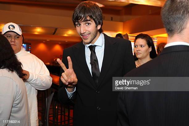 Ricky Rubio of the Minnesota Timberwolves attends the team's 2011 NBA Draft Party at Target Center on June 23 2011 in Minneapolis Minnesota NOTE TO...