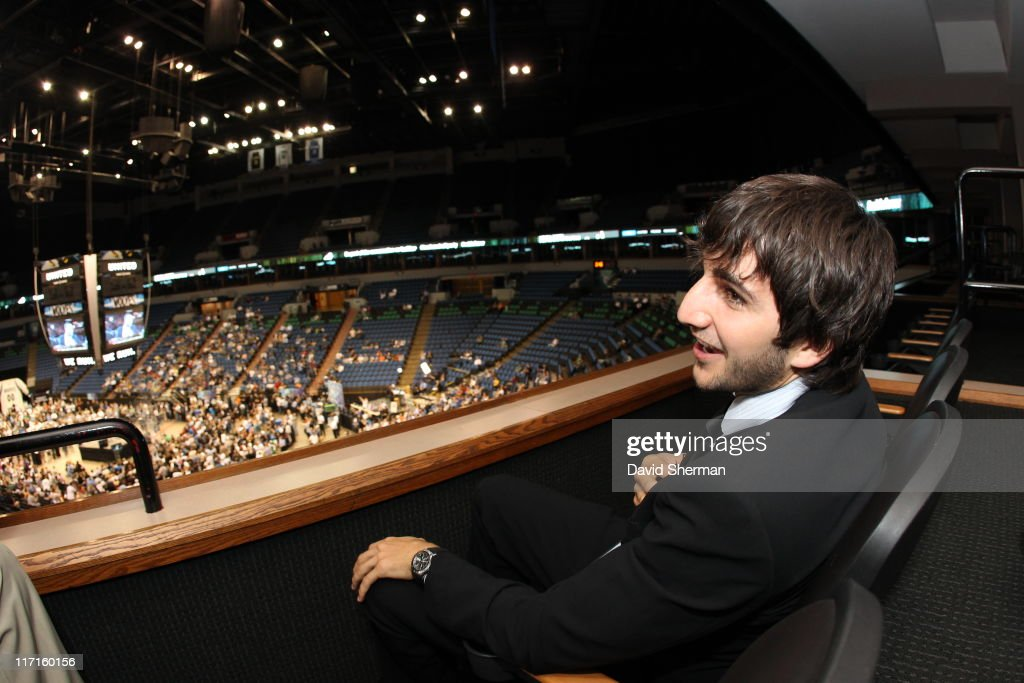 <a gi-track='captionPersonalityLinkClicked' href=/galleries/search?phrase=Ricky+Rubio&family=editorial&specificpeople=4028920 ng-click='$event.stopPropagation()'>Ricky Rubio</a> of the Minnesota Timberwolves attends the team's 2011 NBA Draft Party at Target Center on June 23, 2011 in Minneapolis, Minnesota.