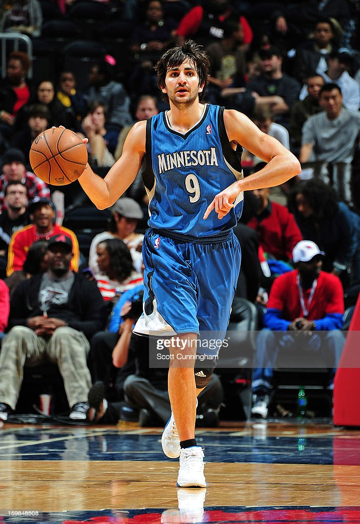 Ricky Rubio #9 of the Minnesota Timberwolves brings the ball up court against the Atlanta Hawks on January 21, 2013 at Philips Arena in Atlanta, Georgia.