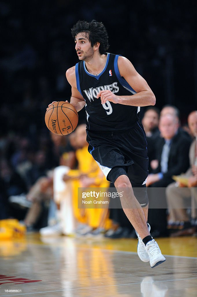 Ricky Rubio #9 of the Minnesota Timberwolves brings the ball up court against the Los Angeles Lakers at Staples Center on February 28, 2013 in Los Angeles, California.