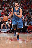 Ricky Rubio of the Minnesota Timberwolves brings the ball up court against the Los Angeles Clippers on March 9 2015 at Staples Center in Los Angeles...