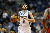 Ricky Rubio of the Minnesota Timberwolves brings the ball up court against the Toronto Raptors on February 10 2016 at Target Center in Minneapolis...