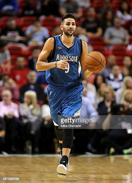 Ricky Rubio of the Minnesota Timberwolves brings the ball up during a game against the Miami Heat at American Airlines Arena on November 17 2015 in...
