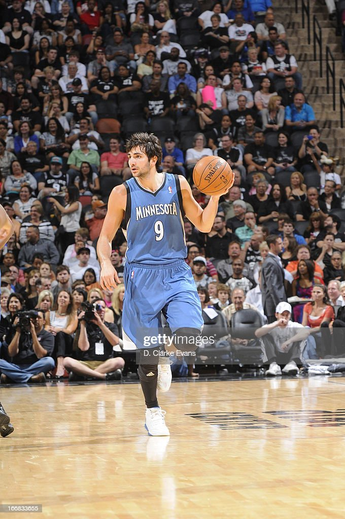 Ricky Rubio #9 of the Minnesota Timberwolves brings the ball up the court against the San Antonio Spurs on April 17, 2013 at the AT&T Center in San Antonio, Texas.