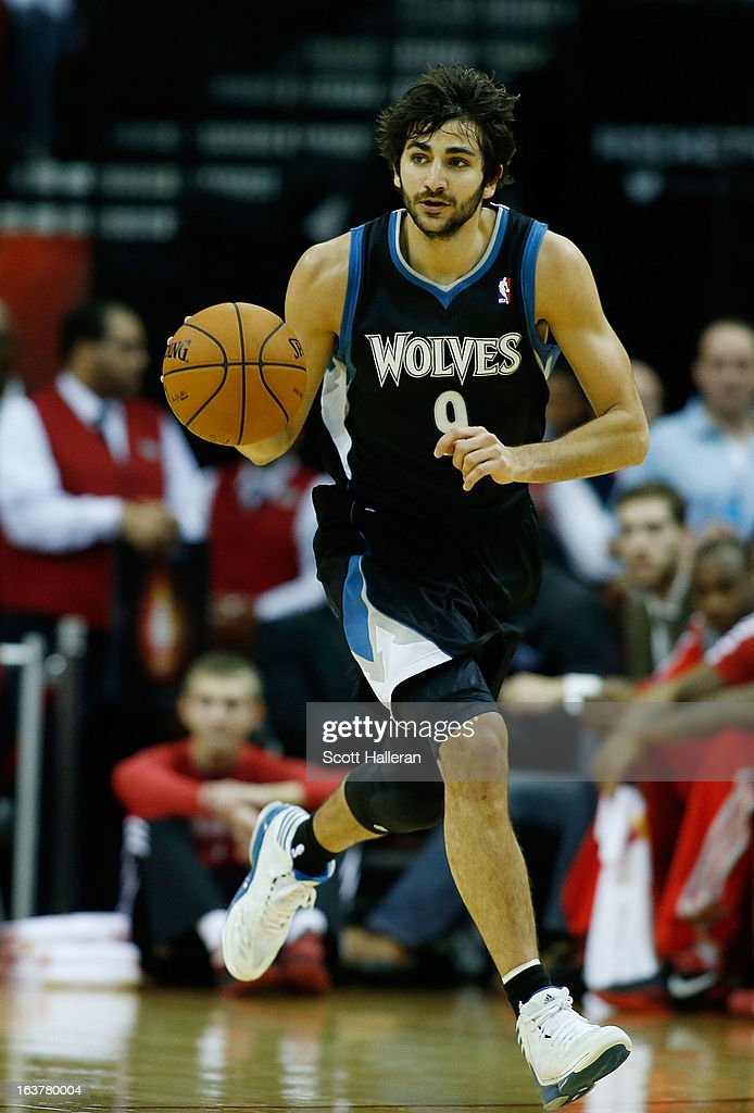 Ricky Rubio #9 of the Minnesota Timberwolves brings the ball upcourt against the Houston Rockets at Toyota Center on March 15, 2013 in Houston, Texas.
