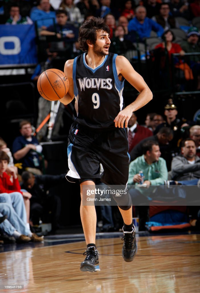 Ricky Rubio #9 of the Minnesota Timberwolves brinsg the ball up the court against the Dallas Mavericks on January 14, 2013 at the American Airlines Center in Dallas, Texas.