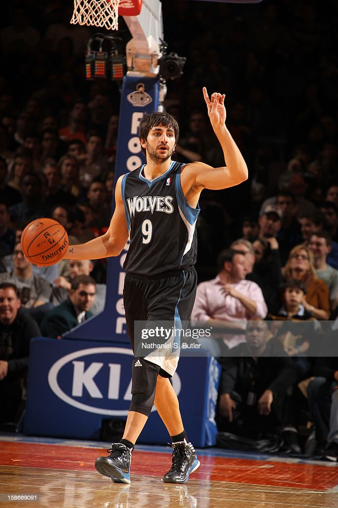 Ricky Rubio #9 of the Minnesota Timberwolves calls a play in a game played against the New York Knicks on December 23, 2012 at Madison Square Garden in New York City.