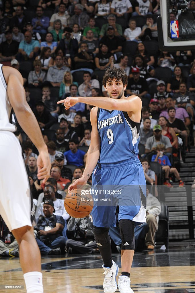 Ricky Rubio #9 of the Minnesota Timberwolves calls out a play against the San Antonio Spurs on April 17, 2013 at the AT&T Center in San Antonio, Texas.