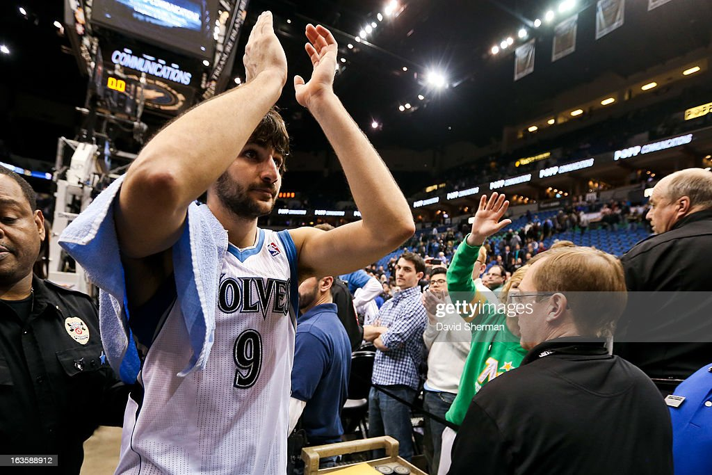 Ricky Rubio #9 of the Minnesota Timberwolves celebrates after his team's victory against the San Antonio Spurs on March 12, 2013 at Target Center in Minneapolis, Minnesota.
