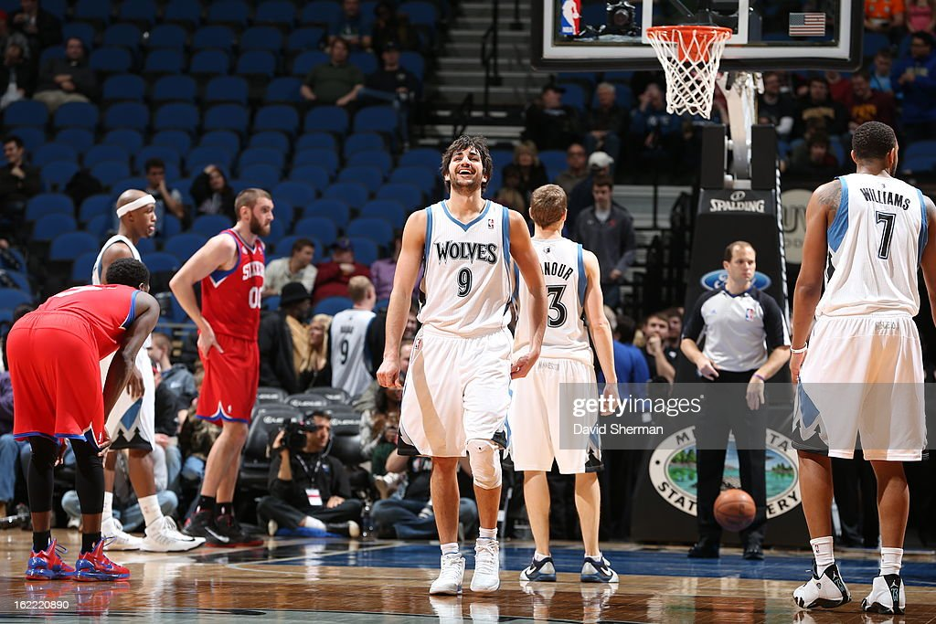 <a gi-track='captionPersonalityLinkClicked' href=/galleries/search?phrase=Ricky+Rubio&family=editorial&specificpeople=4028920 ng-click='$event.stopPropagation()'>Ricky Rubio</a> #9 of the Minnesota Timberwolves celebratesduring the game between Philadelphia 76ers and the Minnesota Timberwolves on February 20, 2013 at Target Center in Minneapolis, Minnesota.