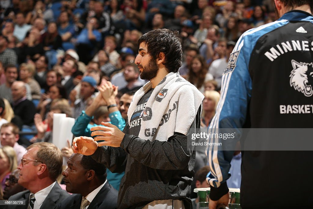 <a gi-track='captionPersonalityLinkClicked' href=/galleries/search?phrase=Ricky+Rubio&family=editorial&specificpeople=4028920 ng-click='$event.stopPropagation()'>Ricky Rubio</a> #9 of the Minnesota Timberwolves cheers from the bench against the Boston Celtics on November 16, 2013 at Target Center in Minneapolis, Minnesota.