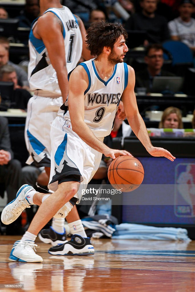 Ricky Rubio #9 of the Minnesota Timberwolves controls the ball against the San Antonio Spurs on February 6, 2013 at Target Center in Minneapolis, Minnesota.