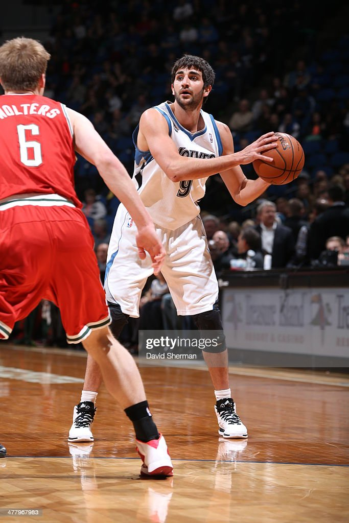 Ricky Rubio #9 of the Minnesota Timberwolves controls the ball against the Milwaukee Bucks on March 11, 2014 at Target Center in Minneapolis, Minnesota.