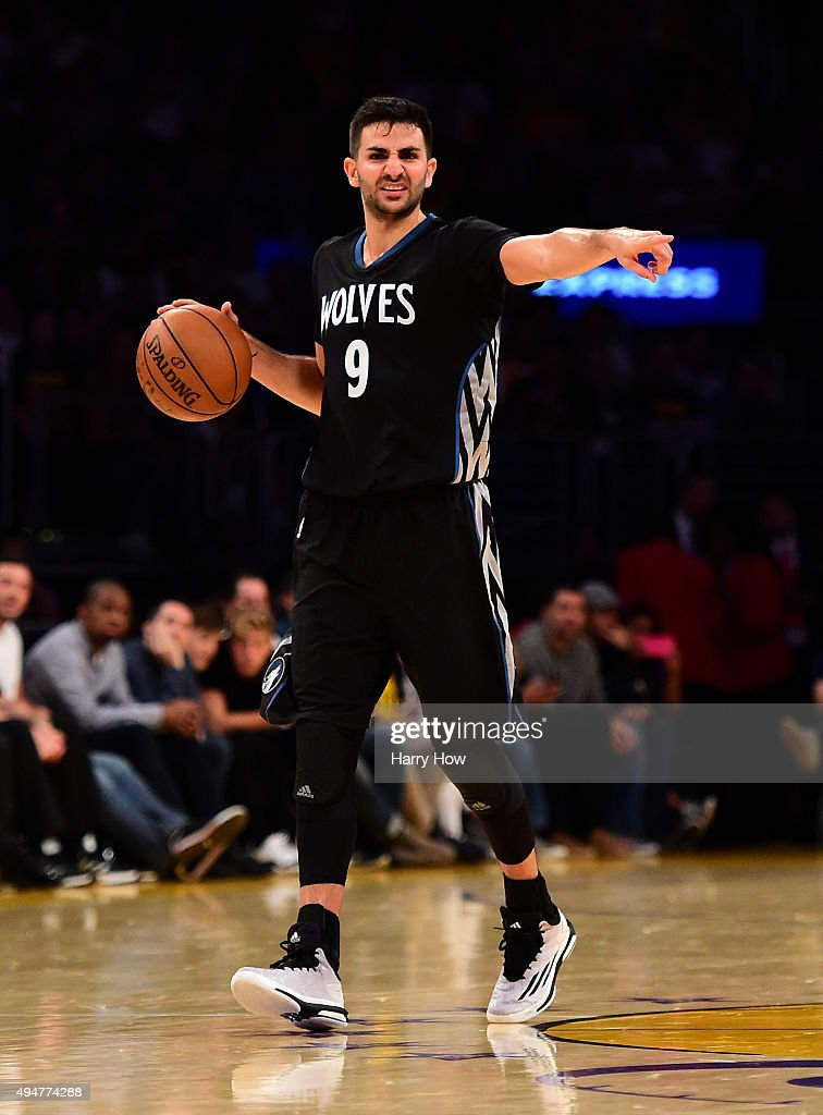 Ricky Rubio of the Minnesota Timberwolves directs a play during the fourth quarter against the Los Angeles Lakers at Staples Center on October 28...