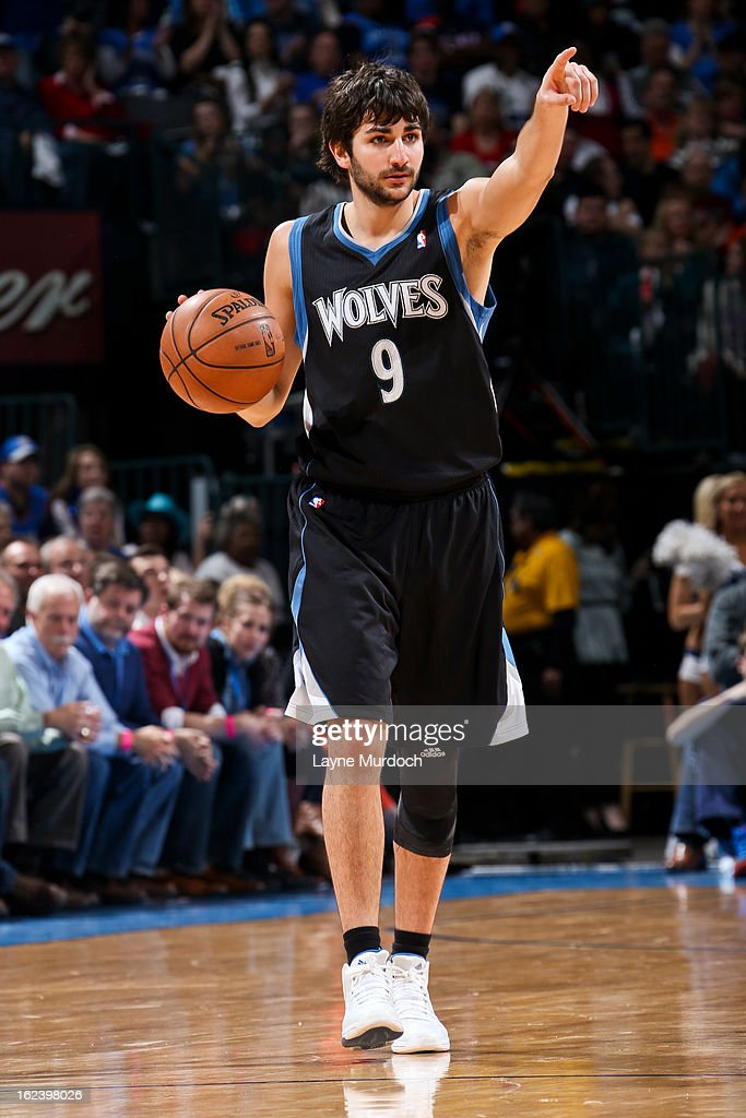 <a gi-track='captionPersonalityLinkClicked' href=/galleries/search?phrase=Ricky+Rubio&family=editorial&specificpeople=4028920 ng-click='$event.stopPropagation()'>Ricky Rubio</a> #9 of the Minnesota Timberwolves directs his team against the Oklahoma City Thunder on February 22, 2013 at the Chesapeake Energy Arena in Oklahoma City, Oklahoma.