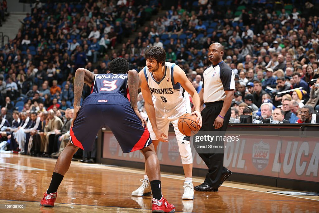 Ricky Rubio #9 of the Minnesota Timberwolves dribbles the ball against Louis Williams #3 of the Atlanta Hawks during the game on January 8, 2013 at Target Center in Minneapolis, Minnesota.