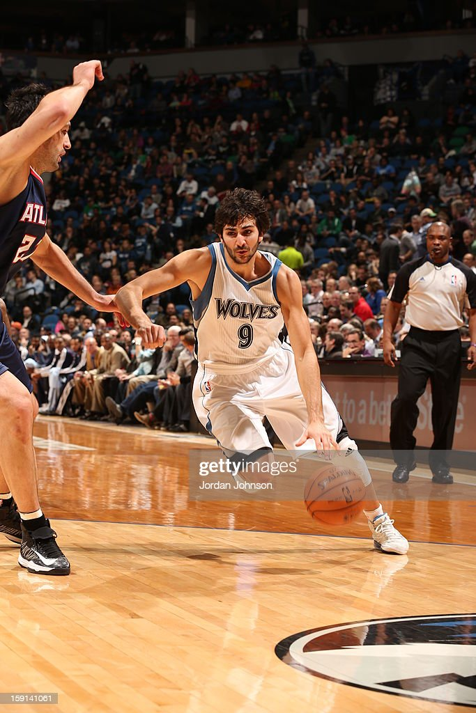 Ricky Rubio #9 of the Minnesota Timberwolves dribbles the ball against the Atlanta Hawks during the game on January 8, 2013 at Target Center in Minneapolis, Minnesota.